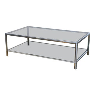Large French Rectangular Low Table of Chrome, Brass and Smoked Glass For Sale