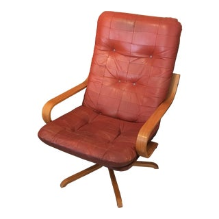 Mid-Century Modern Leather Swivel Chair