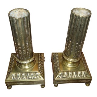 Pair of Brass Candle Holders For Sale
