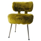 Image of Mid-Century Modern Style Green Sheep Wool Chair For Sale
