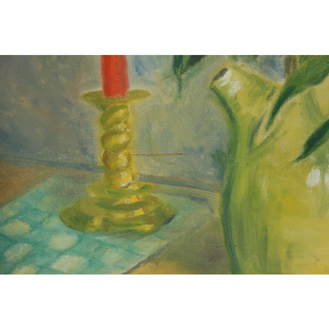 1960 Oil Painting 'Yellow Dasies' For Sale - Image 5 of 5