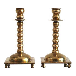 Antique Brass Candle Holders - A Pair