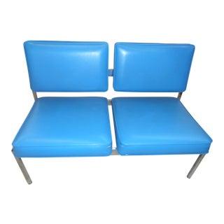 Mid-Century Modern Chrome and Sky Blue Vinyl Sofa For Sale