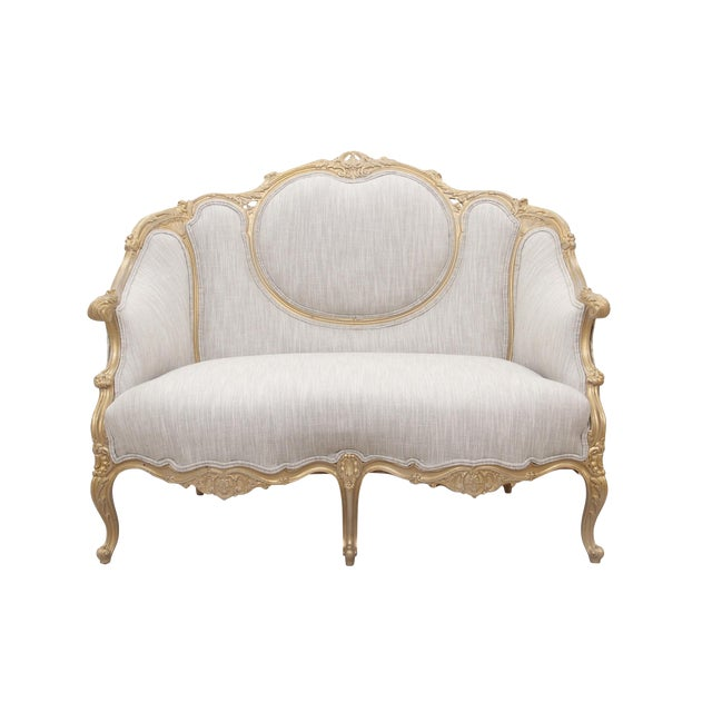 Kate Spade Upholstered Louis XV Style Settee For Sale