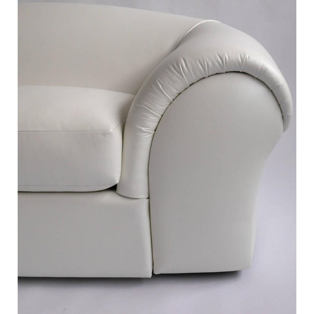 Robert Venturi sofa for Knoll recovered in Spinneybeck white leather.