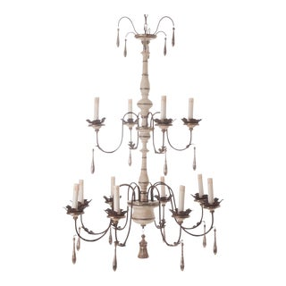 Italian Reproduction Painted 12 Light Chandelier For Sale