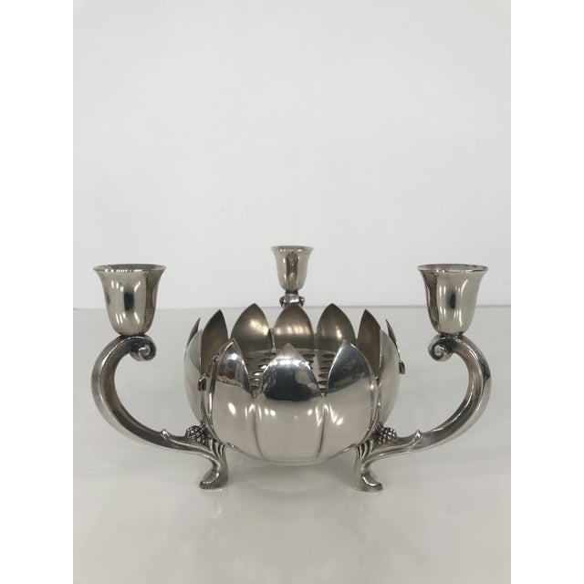 1970s asian modern reed barton silver plate lotus flower excellent condition reed barton silver plate lotus flower shaped bowl with three stem candelabra mightylinksfo