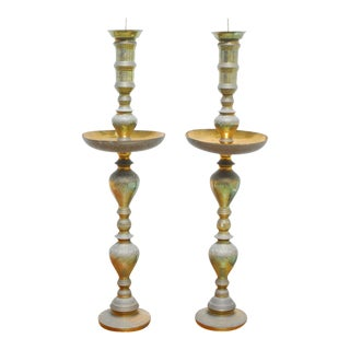 Vintage Mid-Century Patinated Brass Candleholders - A Pair For Sale