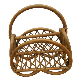Vintage Rattan Magazine Rack For Sale