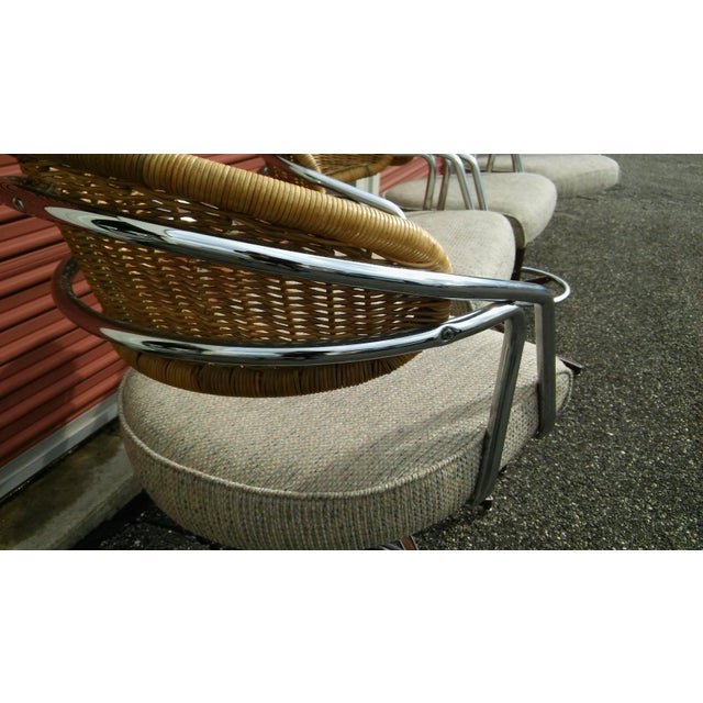 Vintage Samsonite Wicker & Upholstered Swivel Bar Stools - Set of 4 For Sale - Image 6 of 11