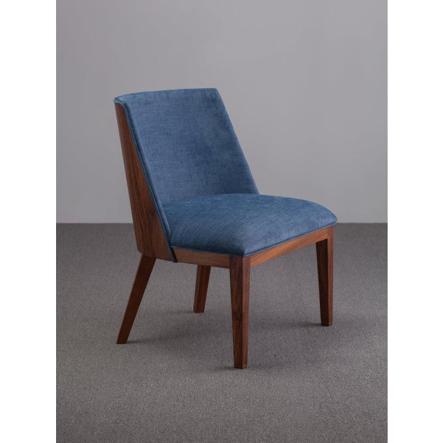 Ebb and Flow Ebb and Flow Nola Accent Chair in Navy Blue Linen For Sale - Image 4 of 4
