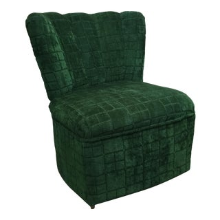 1950s Re-Upholstered Fan Back Armless Side Chair For Sale