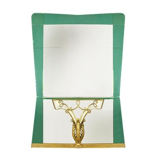 1940s Large Mirror-Console, Green Mirror and Metal by Pier Luigi Colli - Italy For Sale