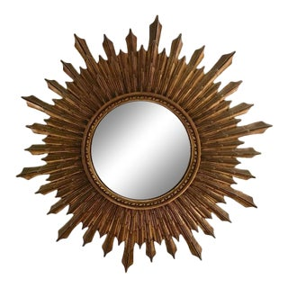 Large Antique Wood Convex, Starburst Mirror For Sale