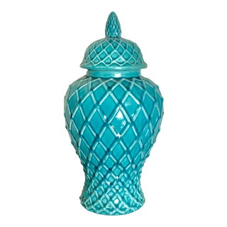 Turquoise Net Design Ceramic Ginger / Temple Jar For Sale