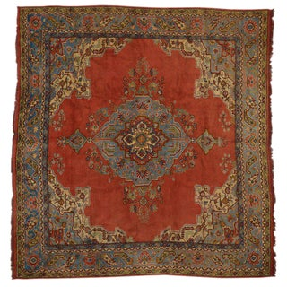 19th Century Turkish Oushak Rug - 12′2″ × 13′6″ For Sale