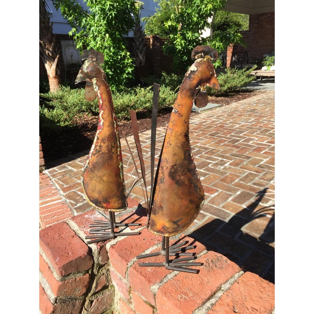 Rustic Copper Roosters - a Pair For Sale - Image 11 of 11