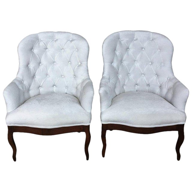 19th Pair of Louis XV Bergère Armchairs in White Velvet For Sale