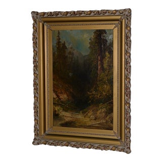 Early California Giant Sequoia Forest Landscape Oil Painting 19th Century For Sale