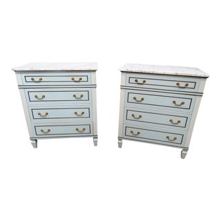 Pair of Mid-Century Modern Marble Top Commodes For Sale