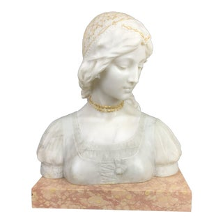 Antique Italian Neo-Classical Sculptural Young Woman Bust 19th Century Marble & Alabaster For Sale
