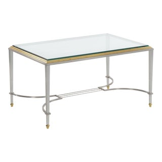 Circa 1940s French Steel & Brass Cocktail Coffee Table in Manner of Maison Jansen For Sale