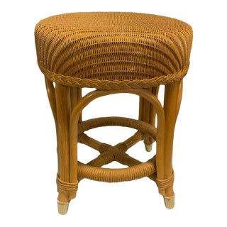 Bamboo and Rattan Mid Century Footstool For Sale