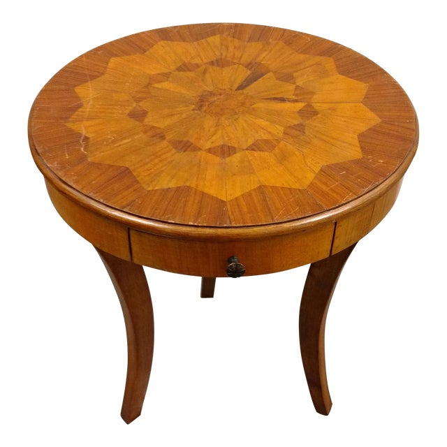 French Flea Market Style Marquetry Side Table For Sale
