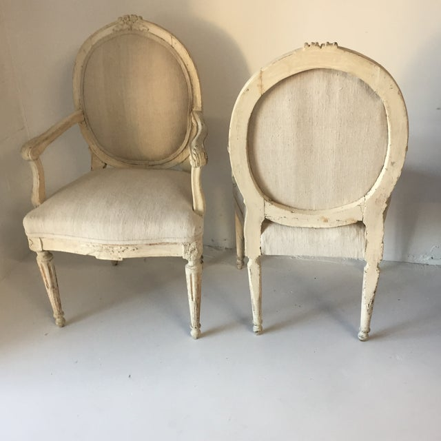 Late 18th Century Swedish Antique White Arm Chairs - a Pair For Sale - Image 5 of 12