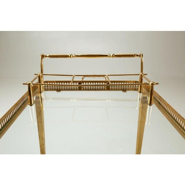 Vintage French Brass Bar Cart With Tray For Sale In Chicago - Image 6 of 11
