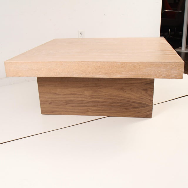 Cerused oak coffee table with walnut pedestal by Samuel Greg. Clean contemporary two toned design that compliments the...