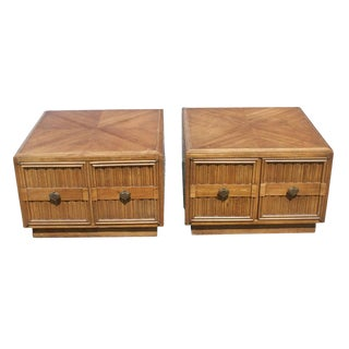 Pair of Plaudit by Drexel Two-Toned Wood Nightstands Side Tables For Sale