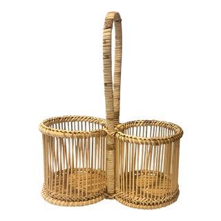 Vintage Handwoven Rattan Boho Chic Wrapped Beverage Serving Basket For Sale