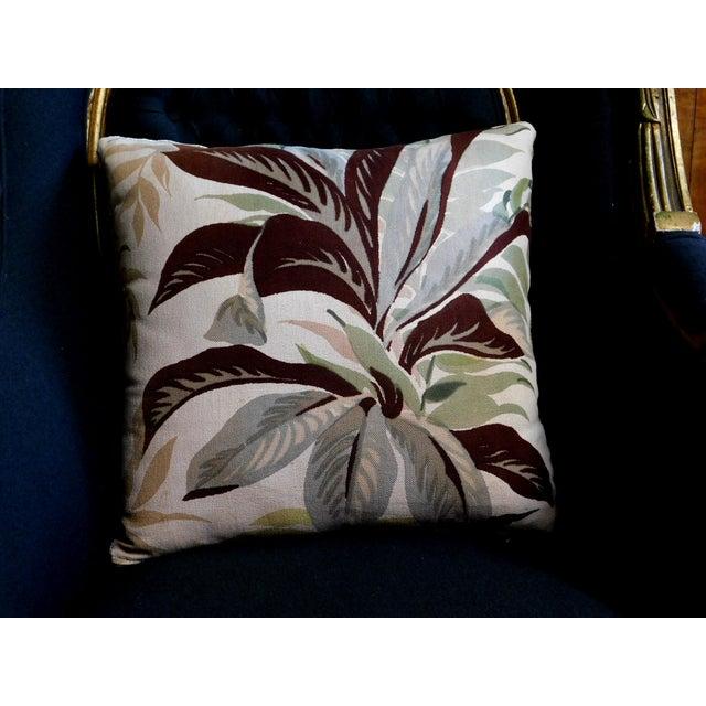 Camel Color Velvet Back Botanical Pillow For Sale - Image 4 of 6
