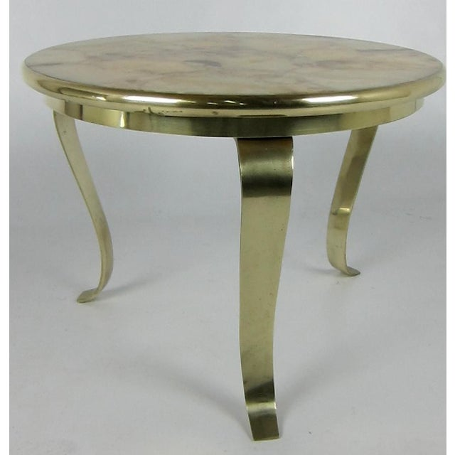 Side table with scrolling bronze legs and framed Onyx Mosaic top by Otto Muller.