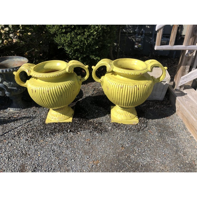 Bright Yellow Ceramic Vintage Handled Planter Jardinaires -A Pair For Sale - Image 12 of 12