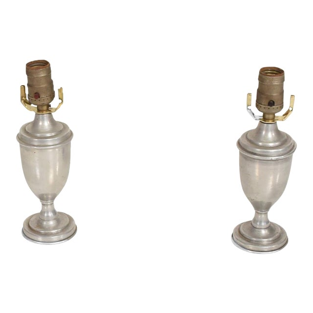 Hollywood Regency Petite Aluminum Table Lamps - a Pair For Sale