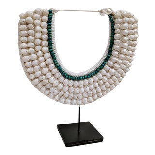 Indonesian Decorative Shell Necklace With Stand