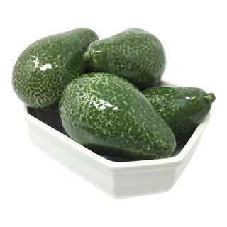 Vintage Italian Ceramic Sculptural Avocados in Bowl Made in Italy For Sale
