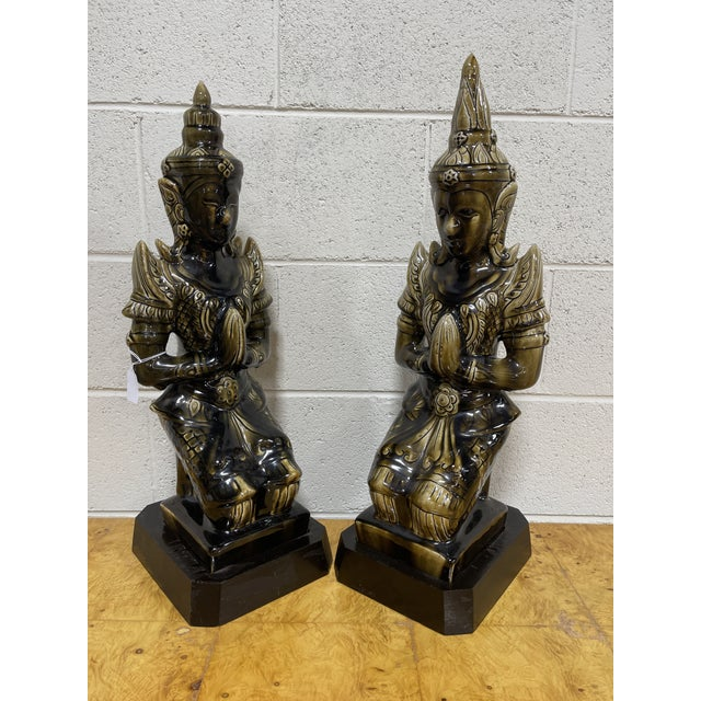 Large Ceramic Mottled Green Buddha's on Stands- a Pair For Sale - Image 12 of 12