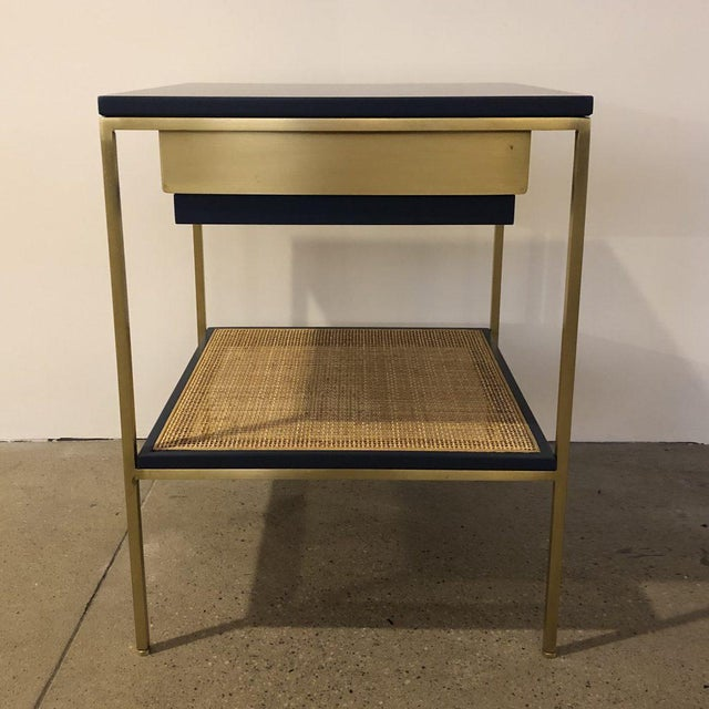 Modern Re: 392 Bedside Table in Kensington Blue Lacquer For Sale - Image 3 of 6