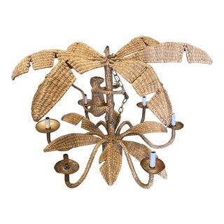1970s Mario Lopez Torres Wicker Monkey Chandelier** For Sale