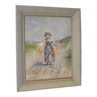 Seaside Grass Harvest Original Watercolor 19th Century