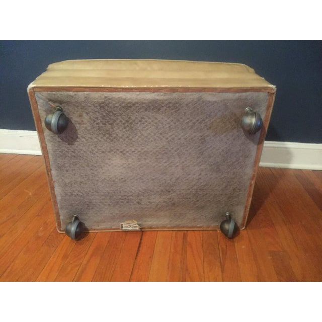 Vintage Distressed Leather Ottoman on Wheels For Sale - Image 9 of 9