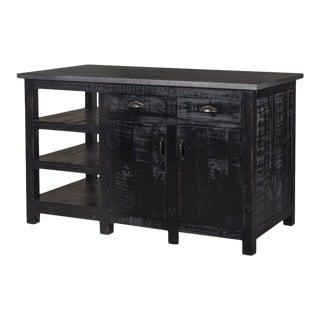 Crafters and Weavers Barlow Display Kitchen Island - Distressed Black For Sale