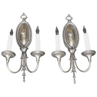 1920s Traditional Sterling Bronze Company Two-Arm Silver Wall Sconces - a Pair For Sale