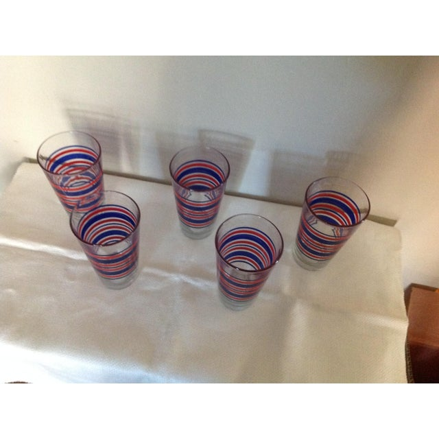 Americana Red & Blue Stripes Glasses - Set of 5 For Sale - Image 3 of 3