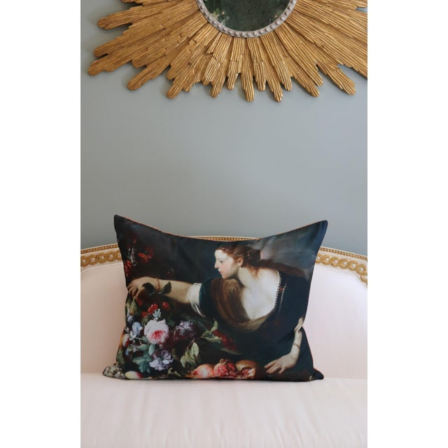 Black Paris Photo Pillow Italian Painting in the Louvre For Sale - Image 8 of 12