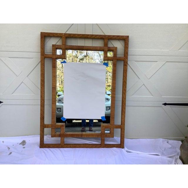 1970s 1970s Geometric Rectangular Rattan Mirror For Sale - Image 5 of 5