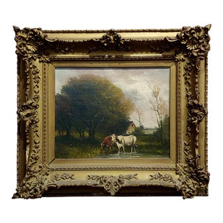 Jaques Durant - Landscape W/ Cows-Impressionist Oil Painting-C1860s For Sale